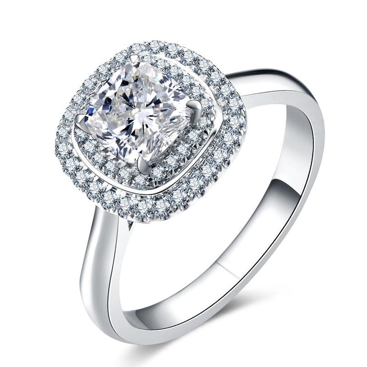 Wiley Hart White Lab Created Sapphire Radiant Cut Double Halo Radiant Cut Engagement Ring White Gold or Silver
