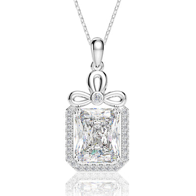 Customized 14K White Gold or Sterling Silver Women's Radiant Cut Necklace with White Sapphire Stone Wiley Hart