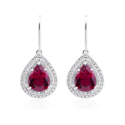 Wiley Hart Red Lab Created Sapphire Earrings Pear Cut Drop Wedding Dangle Bridal Earrings White Gold or Sterling Silver