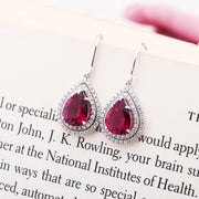 Wiley Hart Ruby Lab Created Sapphire Earrings Pear Cut Drop Wedding Dangle Bridal Earrings White Gold or Sterling Silver