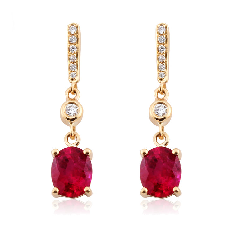 Wiley Hart Romantic Ruby Lab Created Sapphire Oval Dangle Earrings for Wedding Bridesmaid Earrings 14K Rose Gold or Silver