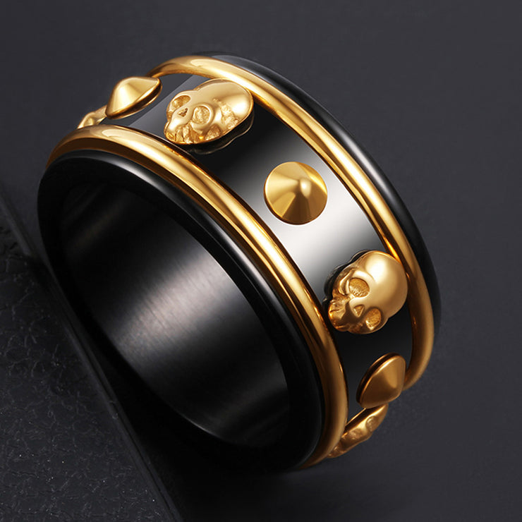 Wiley Hart Rotatable Men's Wedding Band Mens Ring Unique Mens Wedding Ring Skull Ring for Men