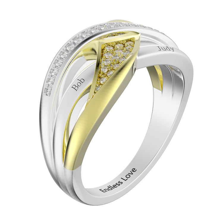 Wiley Hart Twisted Shank Engraved Wedding Rings Round White Lab Created Sapphire Engraved Promise Rings White Gold or Silver