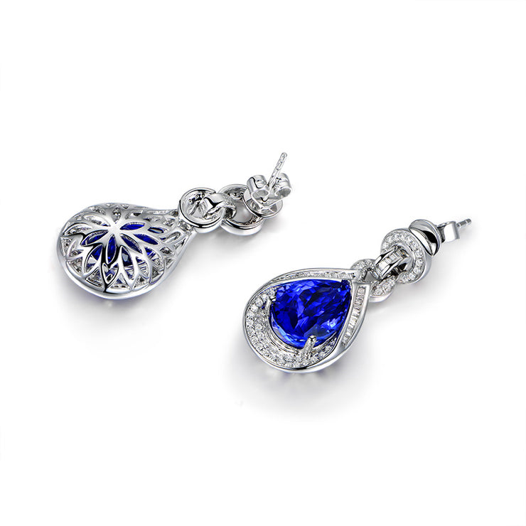 Wiley Hart Pear Cut Blue Lab Created Sapphire Teardrop Wedding Earrings Dangle Bridal Earrings 14K White Gold or Sterling Silver