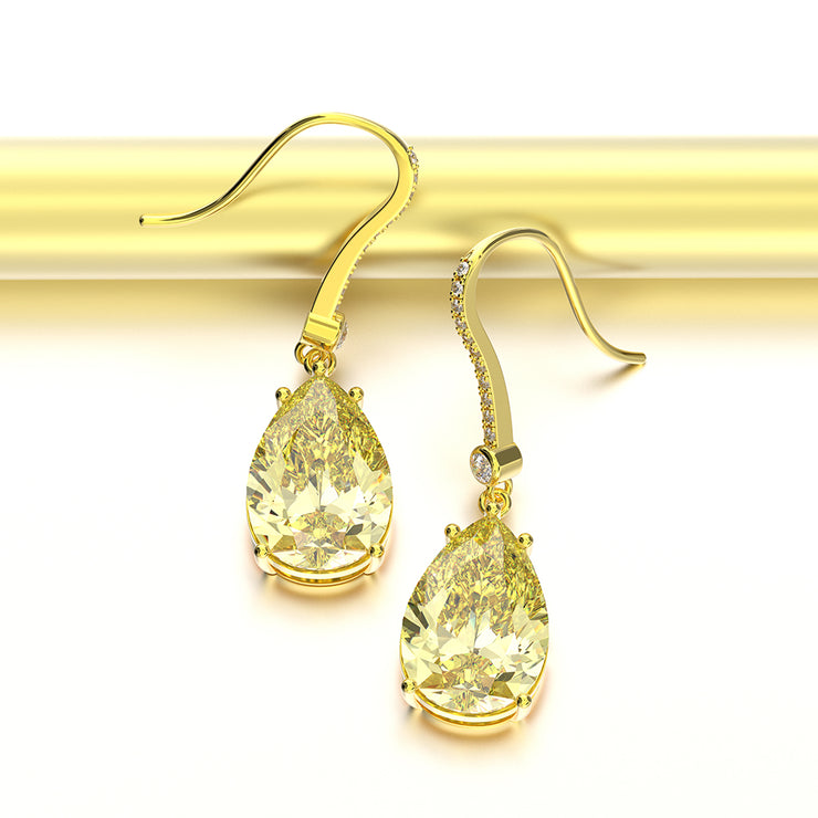 Wiley Hart Pear Cut Yellow Sapphire Hook Dangle Wedding Earrings Teardrop Drop Earrings 14K Gold or Sterling Silver