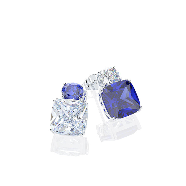 Wiley Hart Exquisite Cushion Cut Blue&White Lab Created Sapphire Stud Wedding Earrings Dangle Bridesmaid Earrings 14K White Gold or Sterling Silver