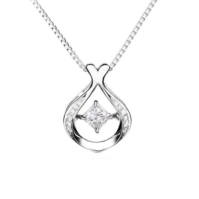 Wiley Hart 14K White Gold or Sterling Silver Women's Cute Creative Princess Shape Necklace with White Sapphire Stone