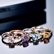 Wiley Hart Round Brilliant Cut Pink White Yellow Purple Sapphire Rings White Gold or Silver