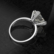 Wiley Hart Solitaire Cushion Cut White Lab Created Sapphire Engagement Ring Wedding Ring White Gold or Silver