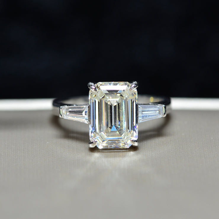 Wiley Hart Solitaire Emerald White Lab-Created Sapphire Engagement Ring Wedding Ring Gifts for Her White Gold or Silver