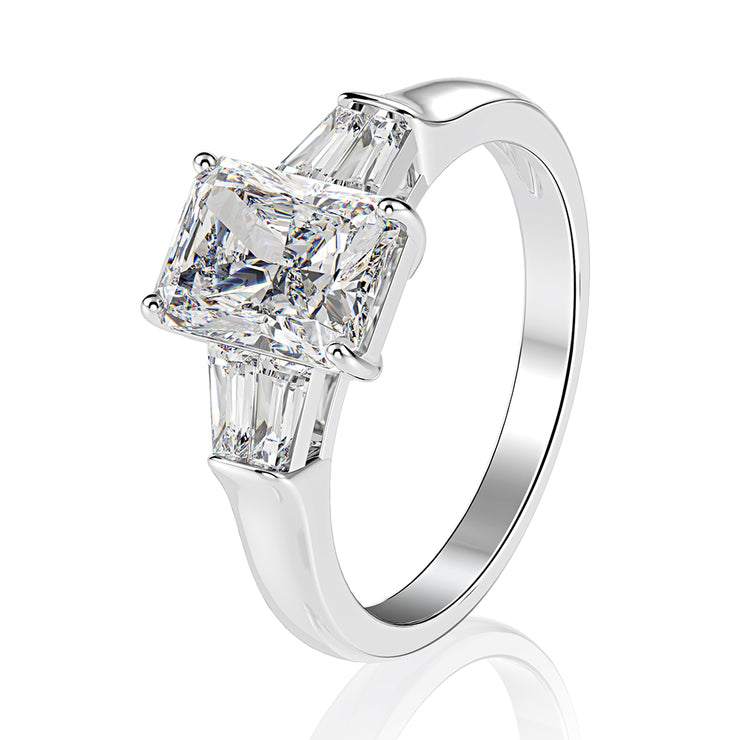 Wiley Hart 2 Carat Solitaire Emerald White Lab Created Sapphire Rings Engagement Ring White Gold or Silver