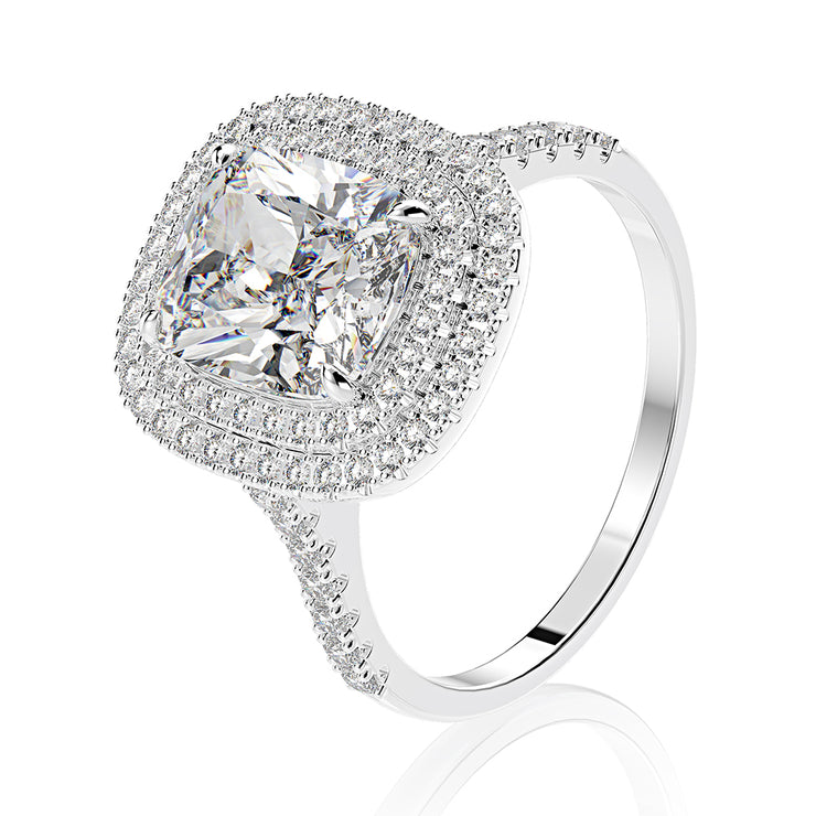 Wiley Hart Cushion Cut White Lab-Created Sapphire Double Halo Setting Engagement Ring Set White Gold or Silver