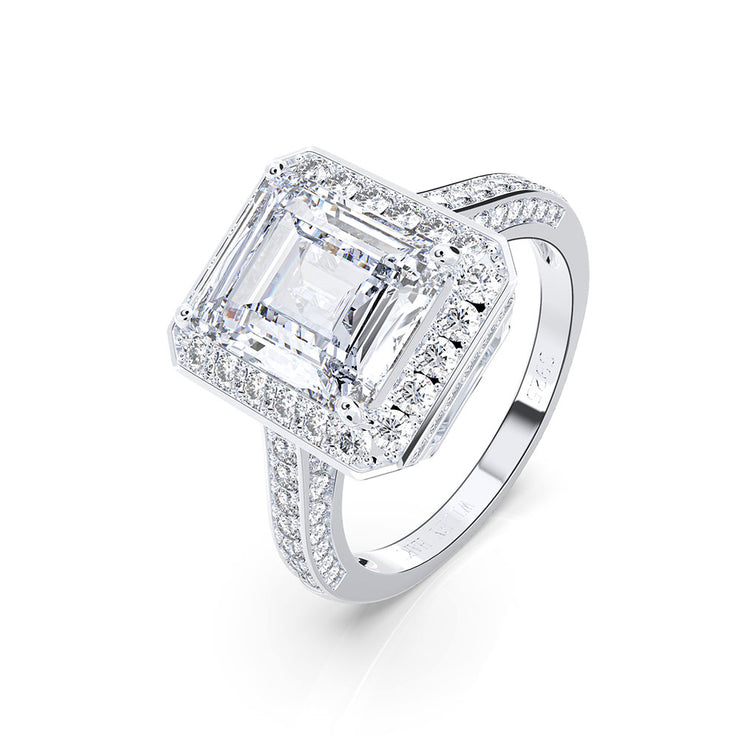 Wiley Hart Stunning Emerald Cut Sapphire Ring Engagement Ring Cocktail Ring White Gold or Sterling Silver