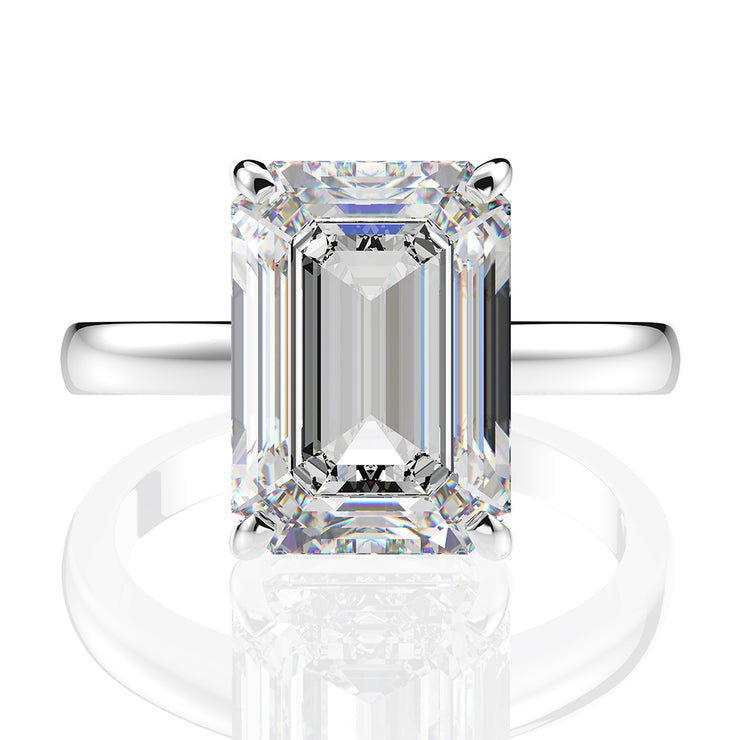 Wiley Hart Stylish Women's Emerald Cut Sapphire Cocktail Ring Anniversary Gift White Gold or Silver