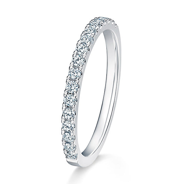 Wiley Hart Timeless White Sapphire Ring Band Dainty Wedding Band in White Gold or Sterling Silver