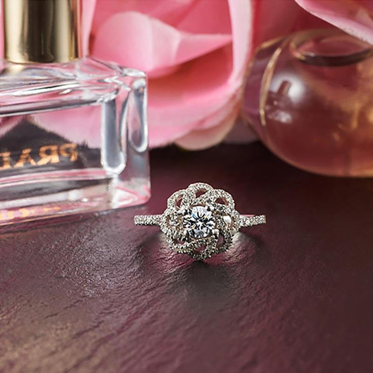 Wiley Hart 1 Carat Round White Sapphire Flower Halo Diamond Ring Engagement Ring Wedding Ring White Gold or Sterling Silver