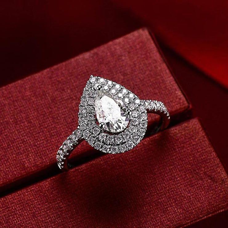 White Sapphire Pear Cut Double Halo Ring Wedding Engagement Elegant Ring 14K Gold or Silver Wiley Hart