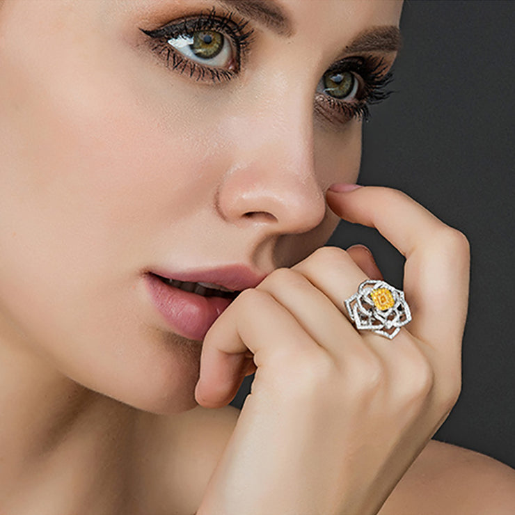 Wiley Hart Yellow Sapphire Ring Rose Flower Women's Cocktail Ring White Gold or Silver