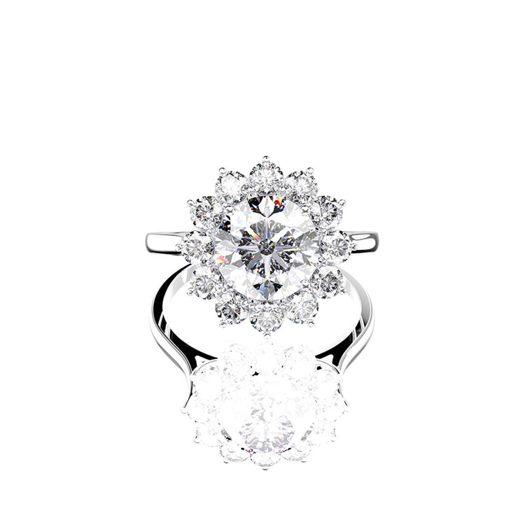 Wiley Hart Like A Star White Sapphire Engagement Ring Wedding Ring in White Gold or Sterling Silver