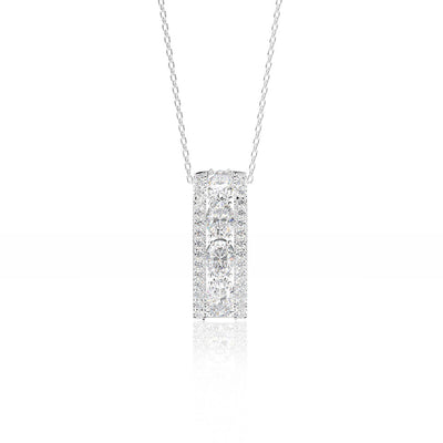 Wiley Hart Personalized 14K White Gold or Sterling Silver Women's Oval Cut Pendant Necklace with White Sapphire Stone