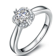 Wiley Hart 1 Carat White Lab Created Sapphire Round Cut Solitaire Engagement Ring Split Shank Wedding Ring White Gold or Silver