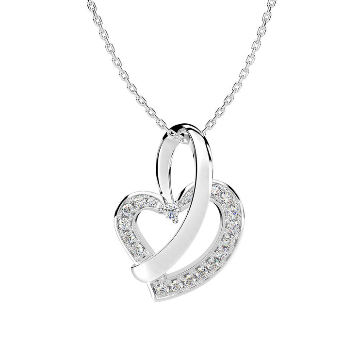Wiley Hart 14K White Gold or Sterling Women Custom Heart Sapphire Engagement Necklace Wedding Gifts