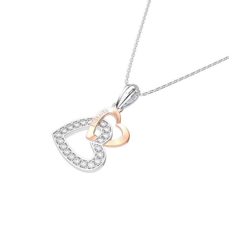Wiley Hart Custom Women Double Heart Engagement Necklace 14K White Gold or Sterling Silver