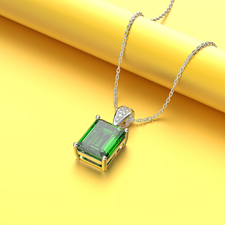 Wiley Hart Women Emerald Cut White Sapphire Engagement Necklace Birthday Gifts for Her 14K White Gold or Sterling Silver