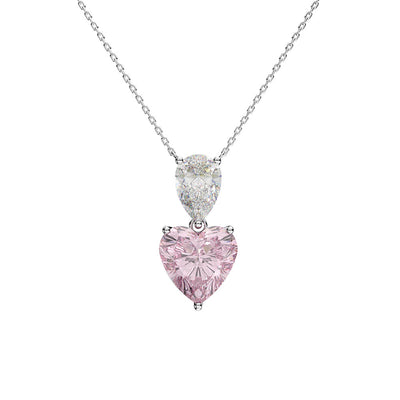 Wiley Hart Custom Women Heart Pink Sapphire Engagement Necklace Gifts for Her 14K White Gold or Sterling Silver