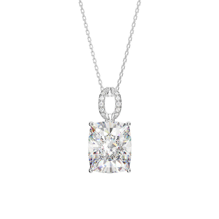 Wiley Hart Women Radiant Cut White Sapphire Engagement Necklace 14K White Gold or Sterling Silver