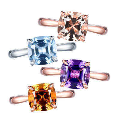 Wiley Hart Radiant Cut Multicolor Sapphire Engagement Rings in Gold or Silver