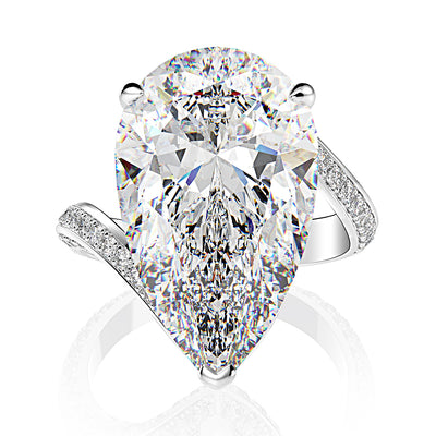 Wiley Hart Women's Elegant Pear Cut White Sapphire Rings Wedding Engagement Ring Twist Band White Gold or Silver