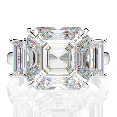 Wiley Hart Women's Exquisite Asscher Cut Sapphire Ring Engagement Ring Cocktail Ring White Gold or Silver
