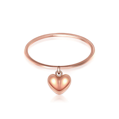 Wiley Hart Simple Rose Gold Women's Heart Engagement Ring in White Gold or Silver
