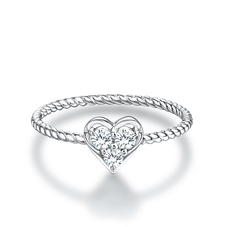 Wiley Hart Dazzling Lover Heart Shape Engagement Ring in White Gold or Sterling Silver
