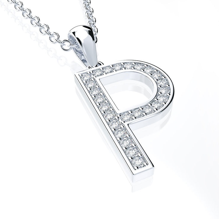 Simple English Initial Alphabet Charm Letter Pendant Necklaces 14K Gold or Sterling Silver Wiley Hart