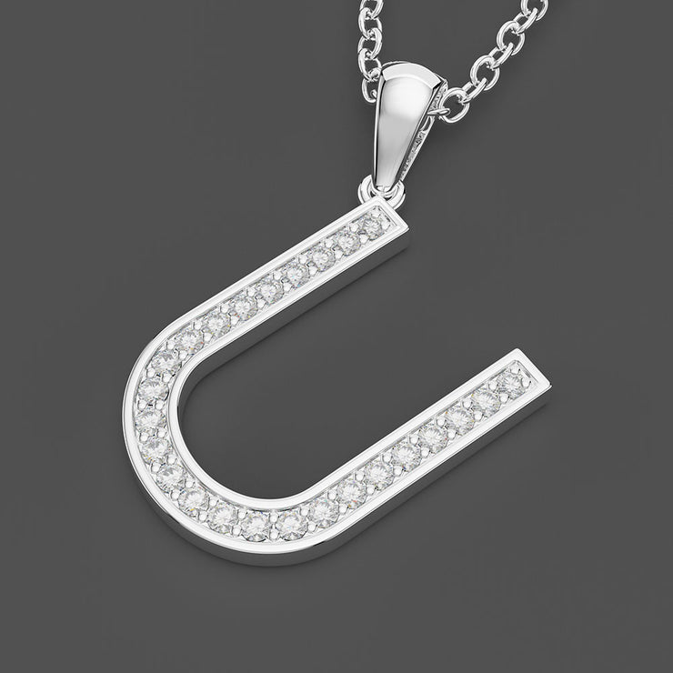 14K Gold or Sterling Silver Diamond Uppercase Letter U Initial Pendant with 20 Inches Chain Wiley Hart