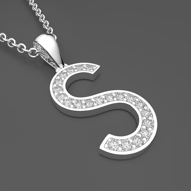 Wiley Hart Trendy 26 Alphabet Capital Letter S Pendant Necklace With 20 Inches Chain 14K Gold or Sterling Silver Letter Necklace