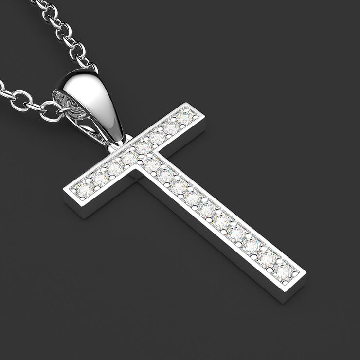 Personalized Diamond Jewelry Fine 14k White Gold Diamond-Studded Initial Letter T Pendant Necklace Wiley Hart
