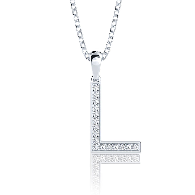 Diamond Initial Letter Pendant Necklace in 14K Gold or Sterling Silver 20 Inches Chain Wiley Hart