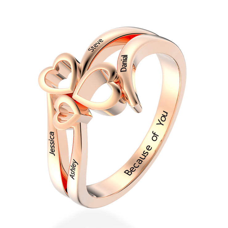 Women's Lovely Hollow Heart Sweet Love Promise Rings Engraved Wedding Rings White Gold or Silver Wiley Hart