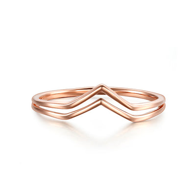 Wiley Hart Rose Gold Pointed Chevron Classical Simple Plain Statement Promise Ring Band White Gold Ring Band