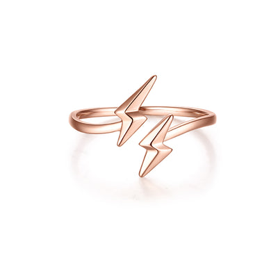 Wiley Hart Rose Gold Women's Lightning Adjustable Ring Band Gold or Silver
