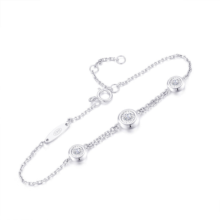 Wiley Hart Women's Cute Round Brilliant Cut White Sapphire Bracelets in White Gold or Silver