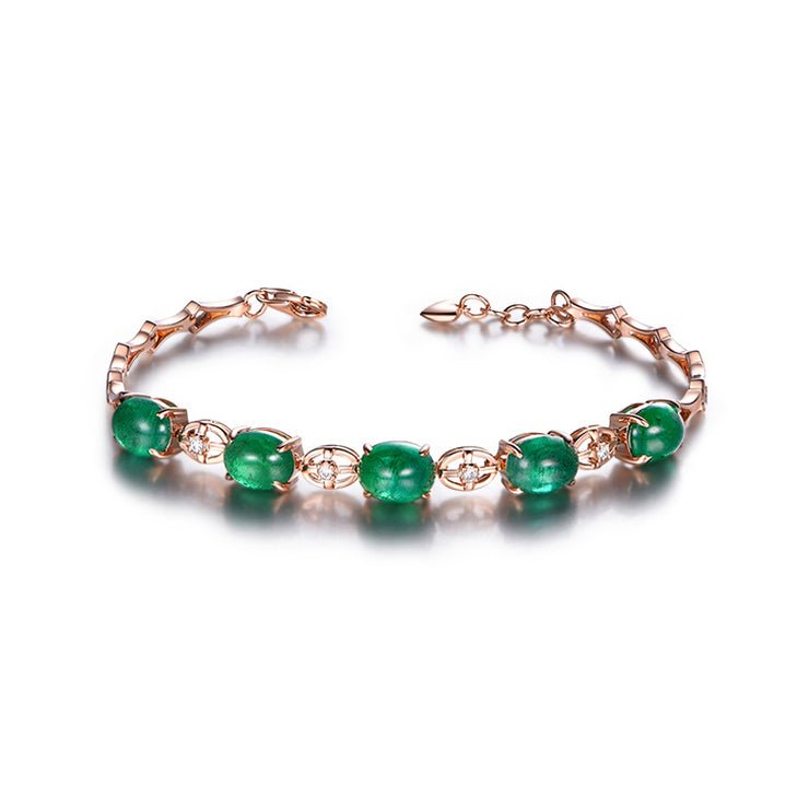 Wiley Hart Rose Gold Women's Oval Green Sapphire Bracelets The Perfect Birthday Gift