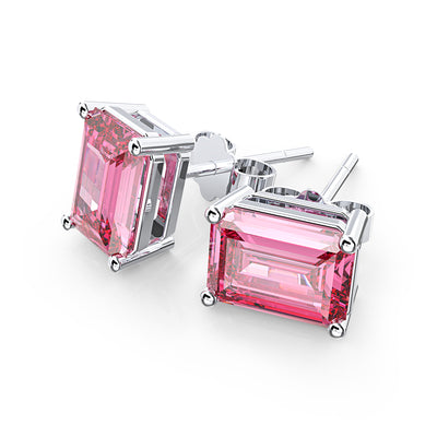 Wiley Hart Emerald Stud Pink Sapphire Wedding Earrings Bridal Stud Earrings Bridesmaid Earrings