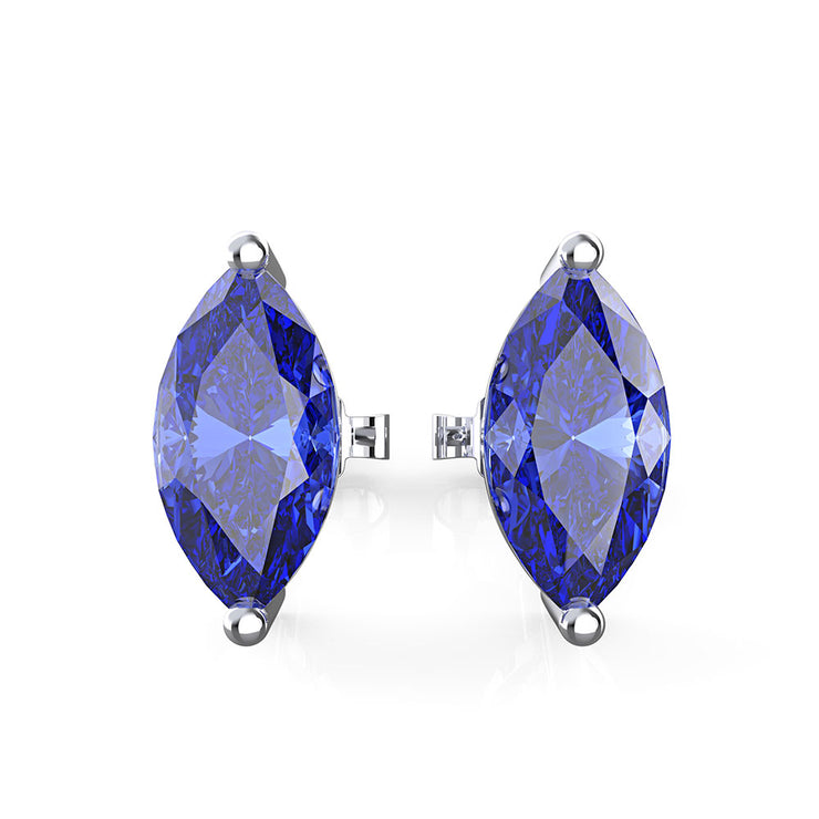 Wiley Hart Women's Marquise Cut Blue Lab Created Sapphire Wedding Earrings for Brides Bridal Earrings  in 14K White Gold or Sterling Silver