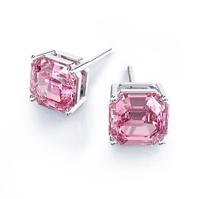 Wiley Hart Women's Asscher Cut Pink Lab Created Sapphire Bridal Wedding Earrings Bridesmaid Earrings Silver or White Gold