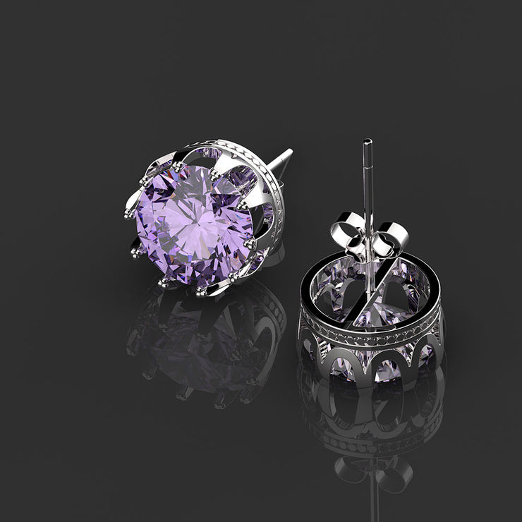 Wiley Hart Round Brilliant Cut Purple Lab Created Sapphire Wedding Earrings Diamond Stud Bridal Earrings White Gold or Silver