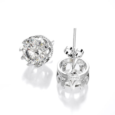 Wiley Hart Round Brilliant Cut White Lab Created Sapphire Wedding Earrings Diamond Stud Bridal Earrings White Gold or Silver